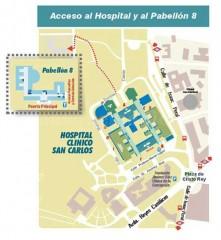 Acceso al hospital y al pabellón 8 - Hospital Clínico San Carlos