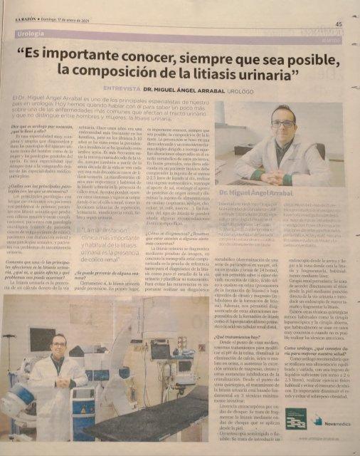 Entrevista en La Razón. Litiasis urinaria - Miguel Ángel Arrabal Polo