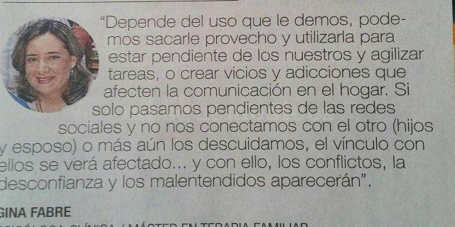 Entrevista Diario Expreso sobre el tema del uso de redes sociales - Gina Fabre Jiménez