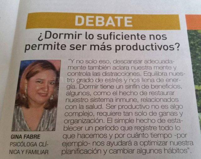 Entrevista a Diario Expreso, sobre el tema del descansar  - Gina Fabre Jiménez
