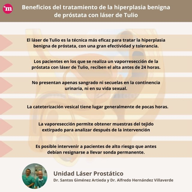 Beneficios del tratamiento de la hiperplasia benigna de próstata con láser de Tulio - Unidad Láser Prostático