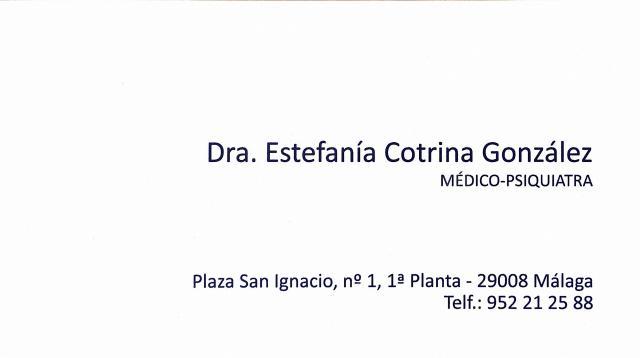 Psiquiatra. Psicoterapia - Dra. Estefanía Cotrina González