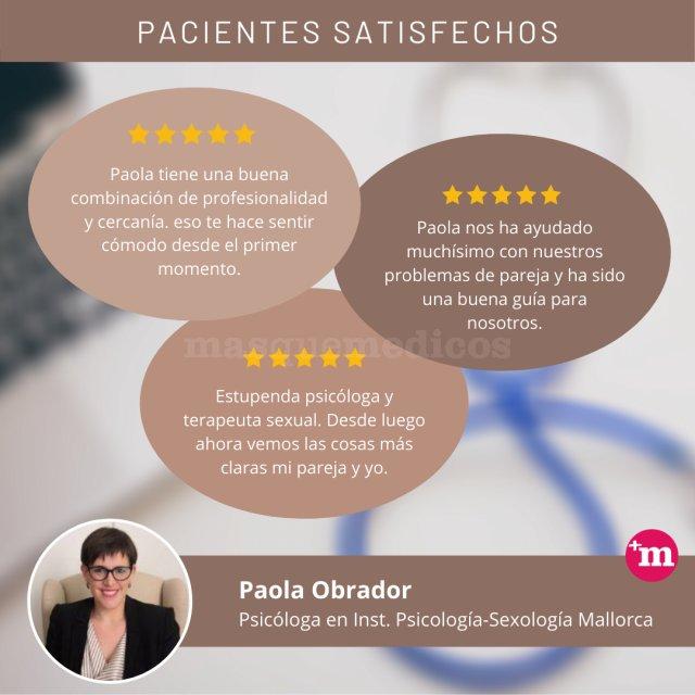 Opiniones validadas de pacientes Paola Obrador - Paola Obrador  - Psicología y Sexología