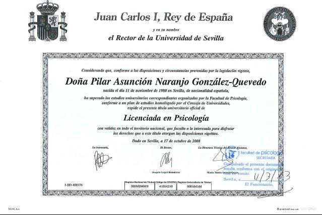 Título Universitario - Pilar Naranjo González-Quevedo