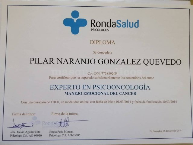 Experto en Psicooncología - Pilar Naranjo González-Quevedo